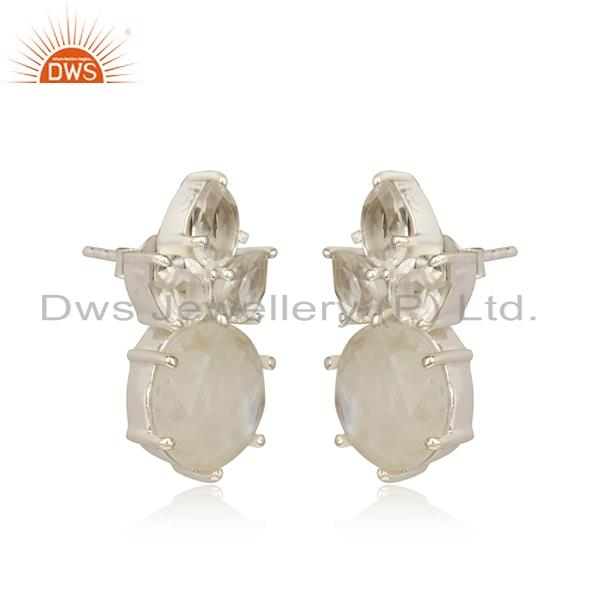 Floral silver studs with rainbow moonstone, crystal quartz