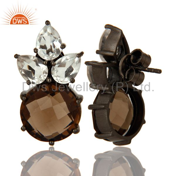 Suppliers Rhodium Plated Sterling Silver Crystal Quartz And Smoky Quartz Post Stud Earring