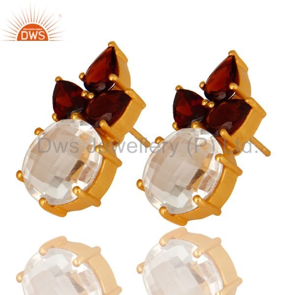 Wholesalers 14K Yellow Gold Plated Sterling Silver Garnet And Crystal Quartz Stud Earrings