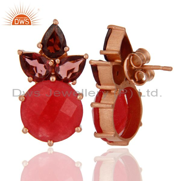 Suppliers 18K Rose Gold Plated Red Aventurine And Garnet Cluster Post Stud Earrings