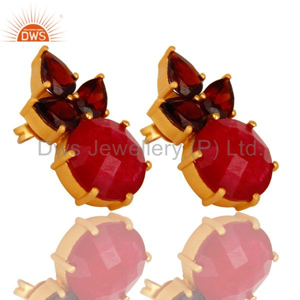 Wholesalers 18K Gold Plated Sterling Silver Garnet And Red Aventurine Post Stud Earrings