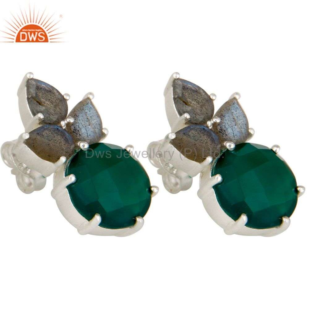 Wholesalers 925 Sterling Silver Green Onyx And Labradorite Prong Set Gemstone Stud Earrings