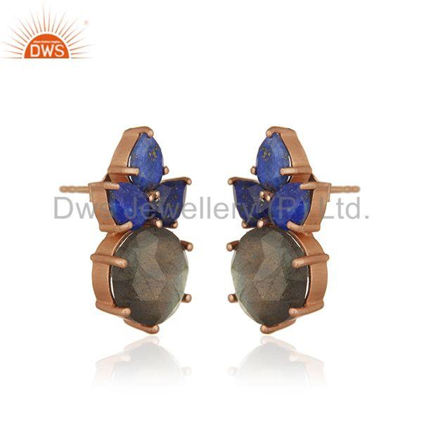 Exporter Labradorite Gemstone 925 Silver Rose Gold Plated Stud Earrings Manufacturer