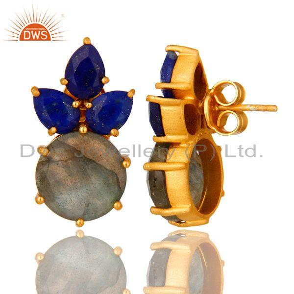 Suppliers 18K Yellow Gold Plated Sterling Silver Lapis Lazuli And Labradorite Stud Earring