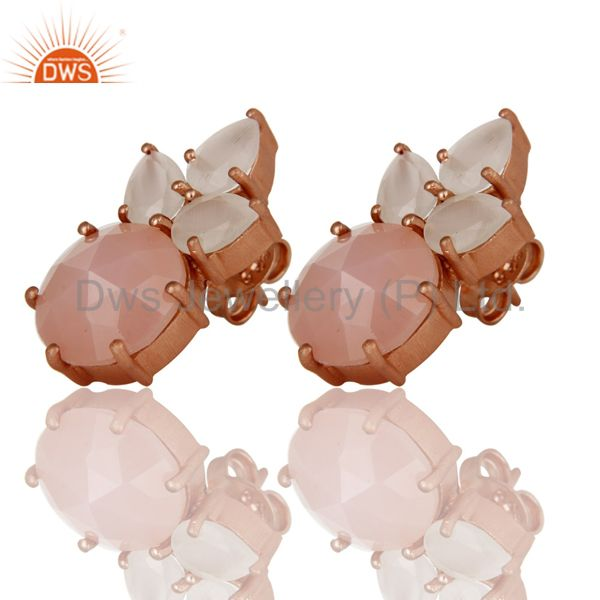 Wholesalers 18K Rose Gold Plated Silver White Moonstone And Rose Chalcedony Stud Earrings