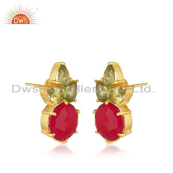 Exporter Peridot and Pink Chalcedony 925 Silver Stud Earrings Manufacturer INdia