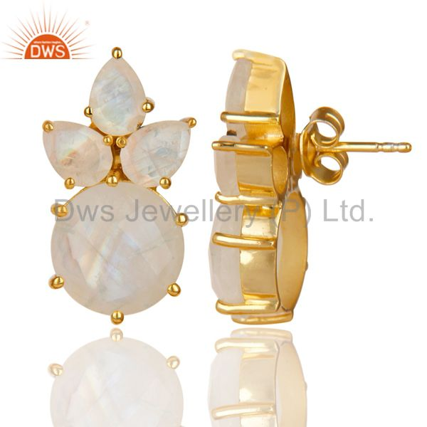 Exporter 18K Gold Plated 925 Sterling Silver Rainbow Moonstone Prong Set Studs Earrings