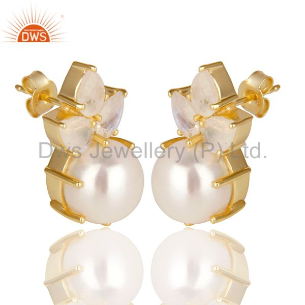 Exporter 18K Gold Plated 925 Sterling Silver Pearl & Moonstone Prong Set Studs Earrings