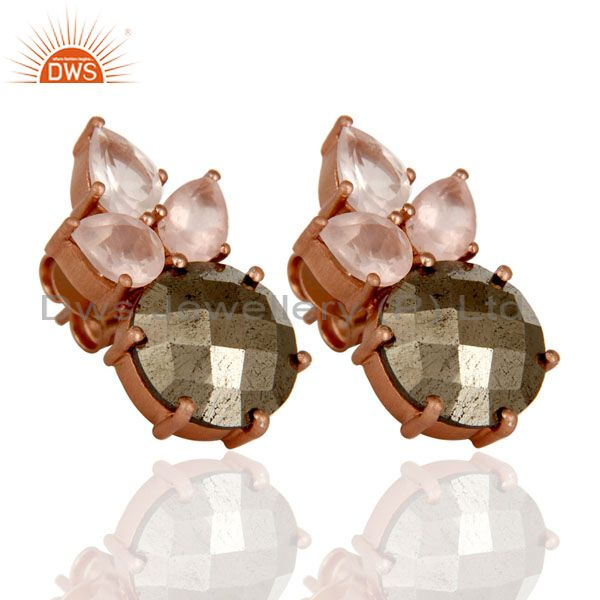 Wholesalers 18K Rose Gold Plated Sterling Silver Pyrite And Rose Quartz Post Stud Earrings