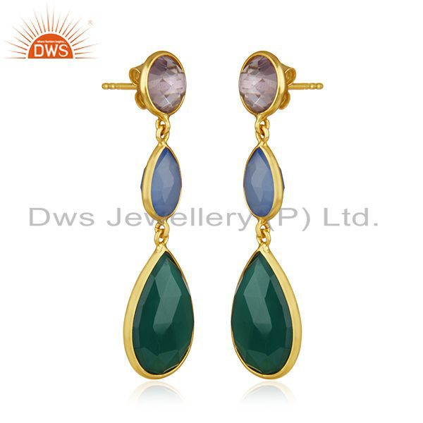 Exporter 925 Silver Gold Plated Multi Gemstone Dangle Earrings Wholesale Supplier