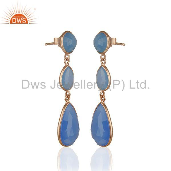 Exporter Blue Chalcedony Gemstone Rose Gold Plated 925 Silver Dangle Earrings Supplier