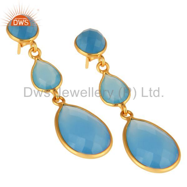 Wholesalers Blue Aqua Chalcedony Faceted Gemstone Dangle Earrings In 18K Gold Over Sterling