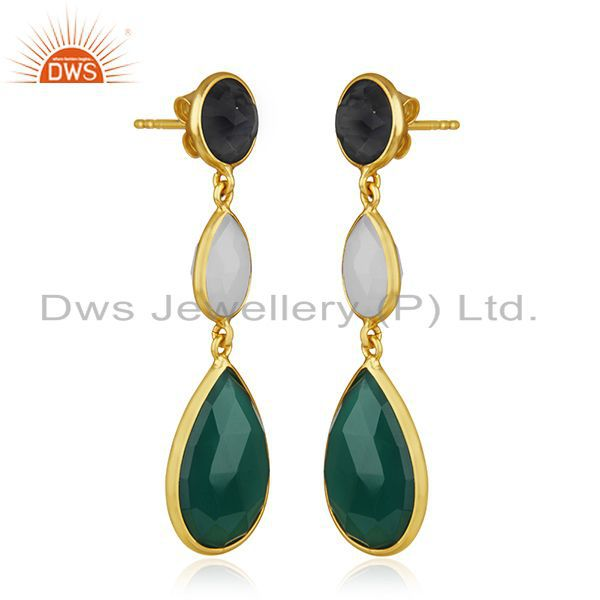 Exporter Gold Plated 925 Silver Multi Gemstone Earring Manufacturer of Custom Jewelry