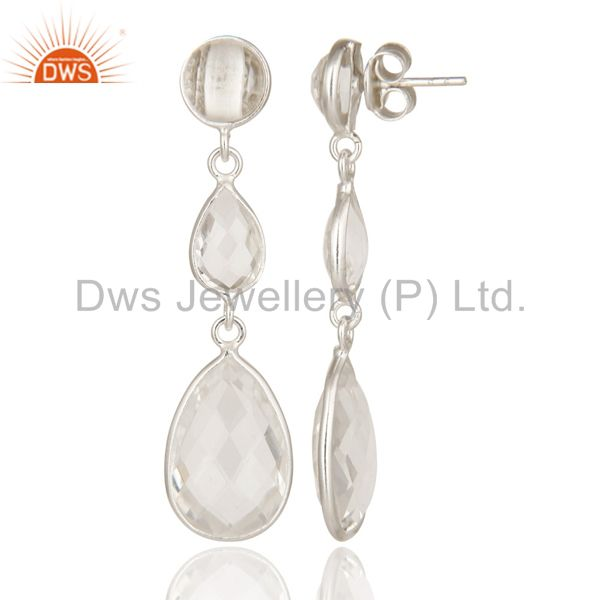 Suppliers Handmade 925 Sterling Silver Crystal Quartz Bezel Set Triple Drop Earrings