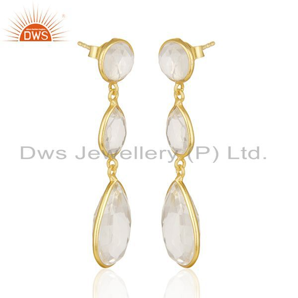 Exporter Crystal Quartz Bezel Set Gemstone Sterling Silver Gold Plated Dangle Earrings
