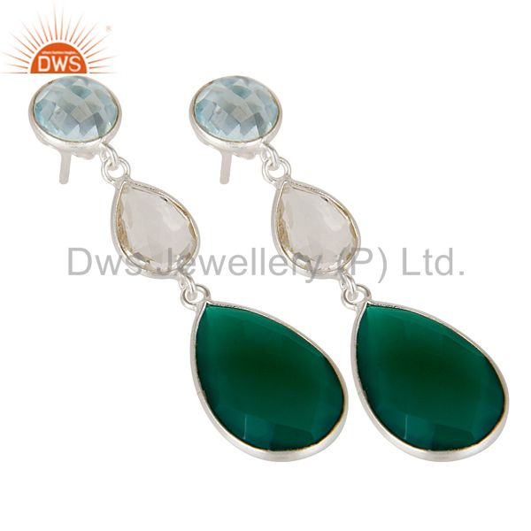 Wholesalers Blue Topaz, Crystal Quartz & Green Onyx Solid 925 Sterling Silver Drops Earrings