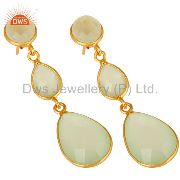 Wholesalers Faceted Green Chalcedony Gold Plated Sterling Silver Womens Dangle Earrings