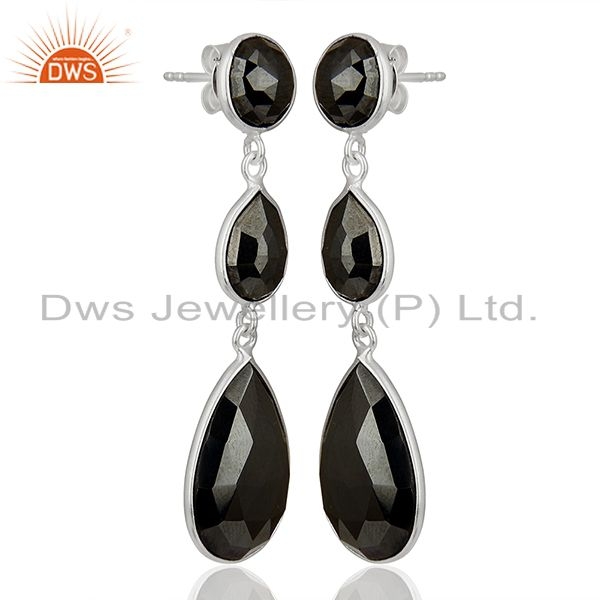 Exporter Black Hametite Gemstone Fine Sterling Silver Dangle Earrings Suppliers