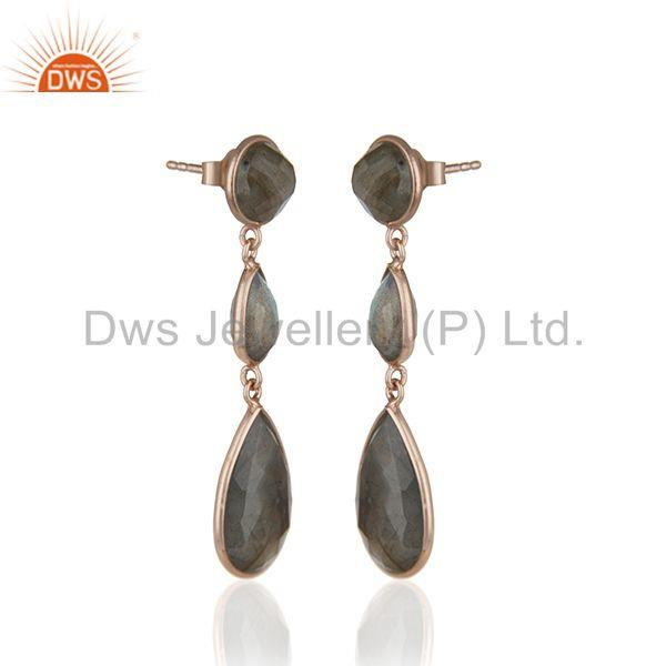 Exporter Rose Gold Plated 925 Silver Labradorite Gemstone Earring Wholesale Jewelry