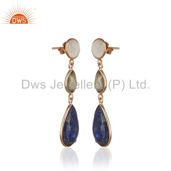 Exporter Rose Gold Plated Solid 925 Silver Three Gemstone Dangle Earrig for Women Jewelry