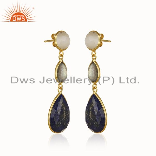 Exporter 18K Gold Plated Sterling Silver Lapis Lazuli And Labradorite Dangle Earrings