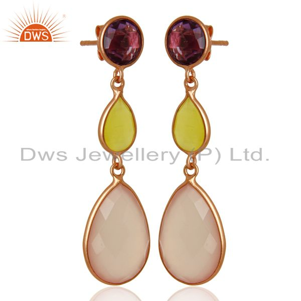 Exporter Rose Chalcedony Gemstone Rose Gold Plated Silver Dangle Earrings