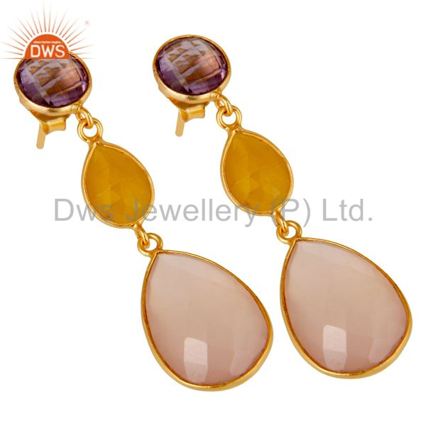 Wholesalers Chalcedony, Amethyst & Moonstone 18k Gold Plated Sterling Silver Dangle Earrings