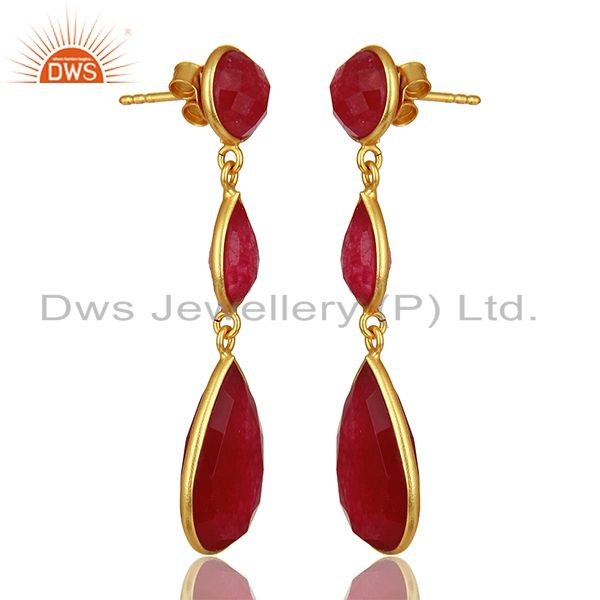 Exporter Red Aventurine Gemstone Gold Plated 925 Silver Dangle Earring Supplier