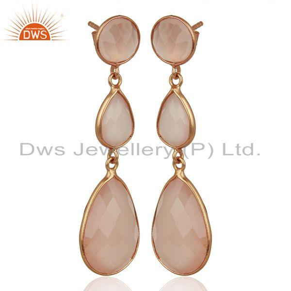 Exporter 18K Rose Gold Plated Sterling Silver Rose Chalcedony Triple Drop Earrings