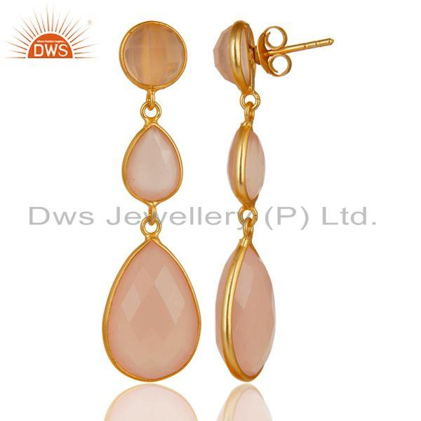 Wholesalers Gold Plated 925 Silver Faceted Dyed Rose Chalcedony Bezel-Set Dangle Earrings