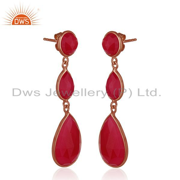 Exporter Rose Gold Plated 925 Silver Rose Gold Plated Silver Earrings Manufacturer India