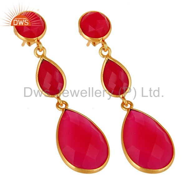 Wholesalers Dyed Pink Chalcedony Bezel Set Drop Dangle Earrings in 18K Gold Plated Silver