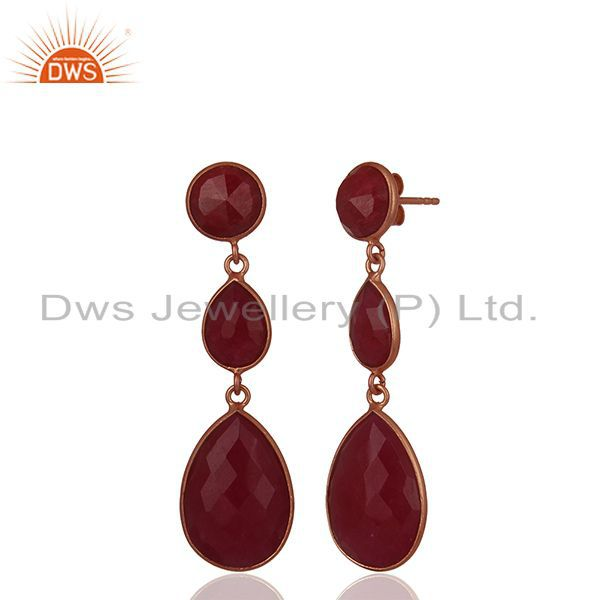 Suppliers 18K Rose Gold Plated Sterling Silver Faceted Ruby Gemstone Triple Drop Earrings