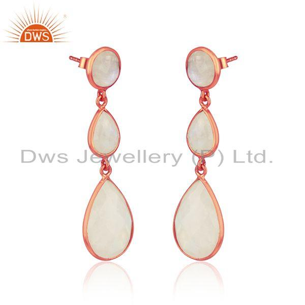 Drop earring in rose gold on silver 925 with rainbow moonstone
