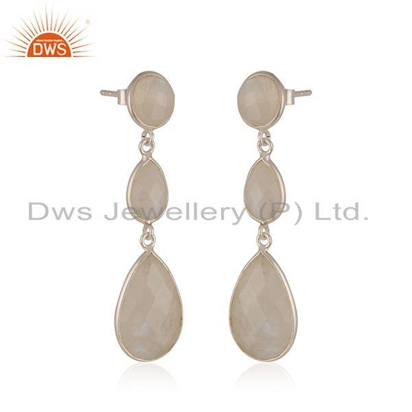 Exporter Rainbow Moonstone Sterling 92.5 Fine Silver Handmade Earring Manufacturer India
