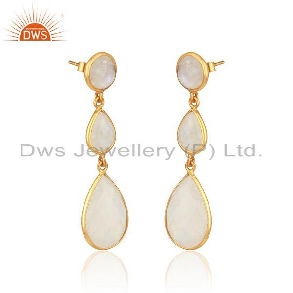 Drop earring in yellow gold on silver 925 with rainbow moonstone