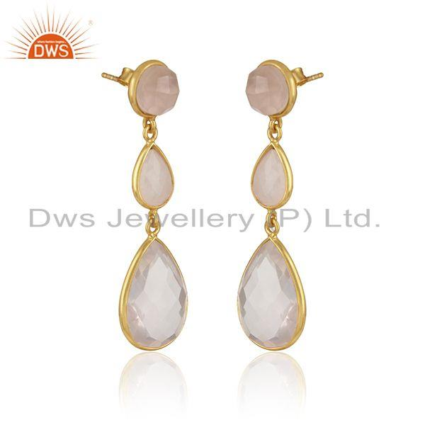 Double drop earring in yellow gold on silver 925 with rose quartz