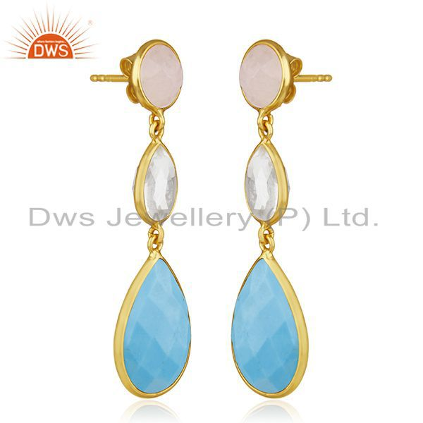 Exporter Handmade 925 Silver Gold Plated Multi Gemstone Dangle Earring Jewelry Wholesale