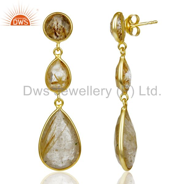 Exporter 14K Gold Plated 925 Sterling Silver Golden Routile Quartz Bezel Set Earrings