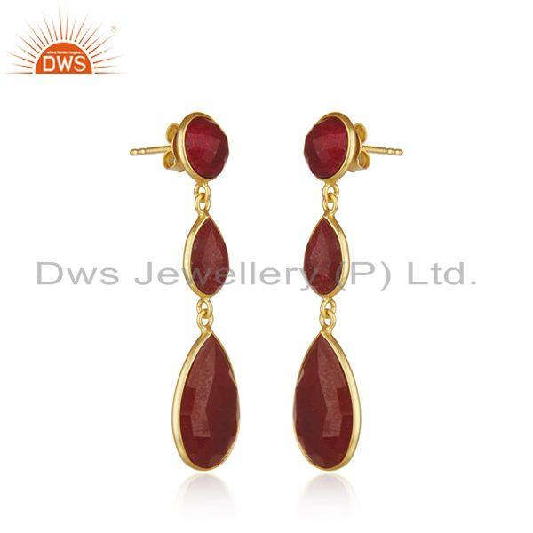 Exporter Ruby Corundum Gemstone Gold Plated 925 Silver Dangle Earrings Suppliers