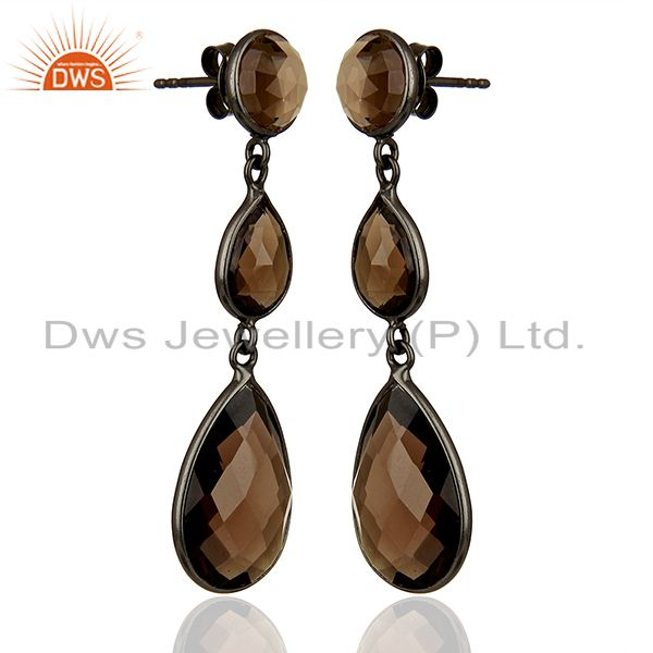 Exporter Handmade Black Rhodium Plated Smoky Quartz Girls Earrings Supplier
