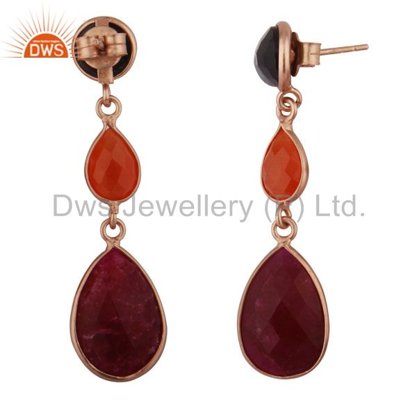 Suppliers 18K Rose Gold Plated Silver Dyed Ruby, Moonstone And Smoky Triple Drop Earrings