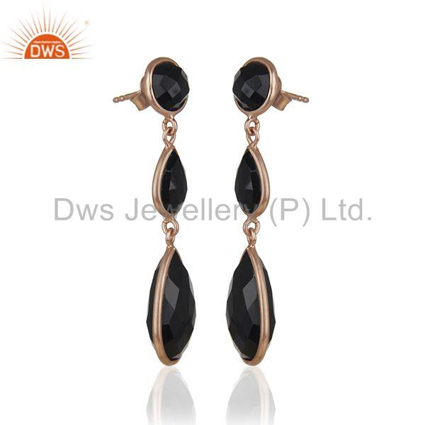 Exporter Black Onyx Gemstone 925 Silver Rose Gold Plated Handmade Earring Suppliers