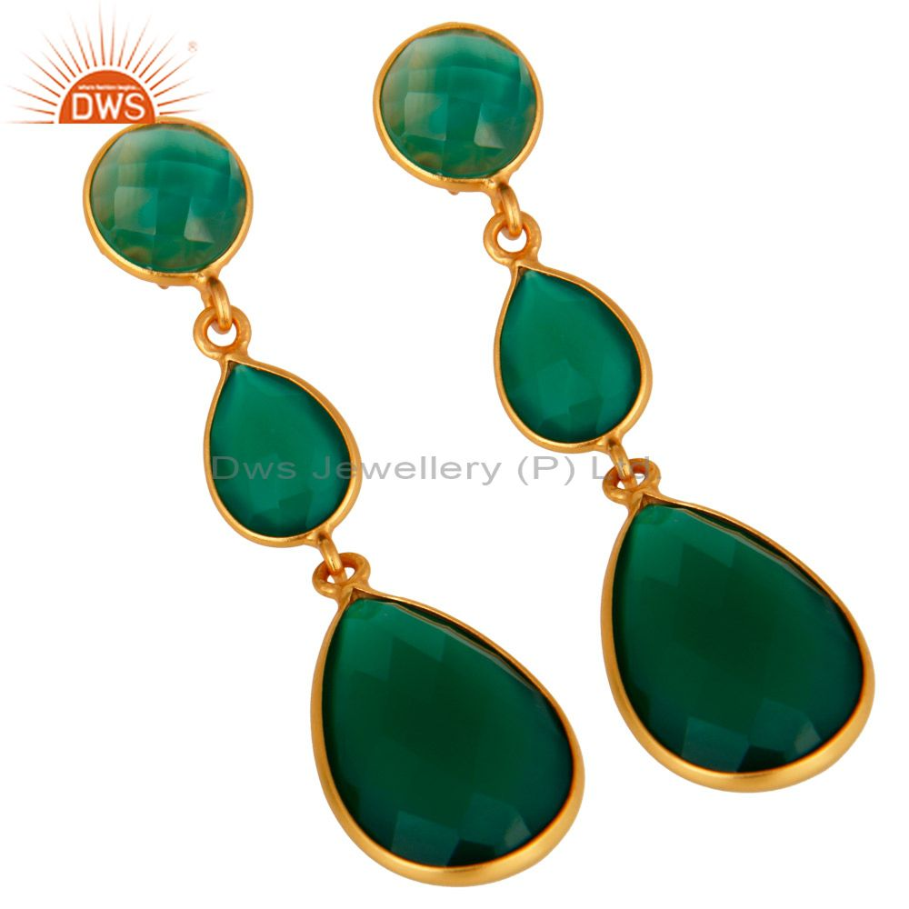 Wholesalers 18K Gold Plated Sterling Silver Faceted Green Onyx Gemstone Dangle Earrings