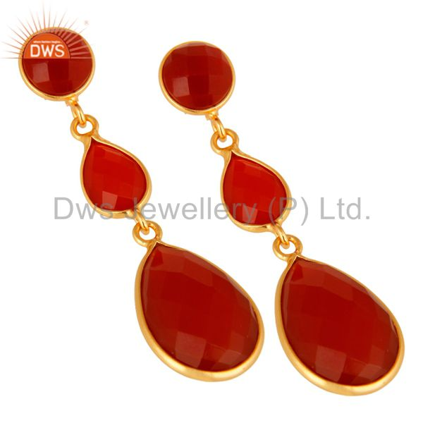 Wholesalers Faceted Red Onyx Gemstone Yellow Gold Plated Sterling Silver Drop Earrings
