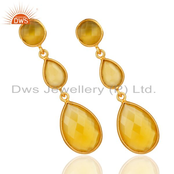 Suppliers 18K Gold Plated Sterling Silver Yellow Chalcedony Triple Stone Bezel Set Earring