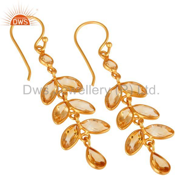 Wholesalers 18K Yellow Gold Plated Sterling Silver Citrine Gemstone Leaf Dangle Earrings