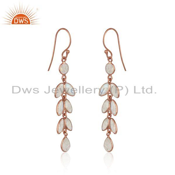 Dangle earring in rose gold on silver with rainbow moonstone