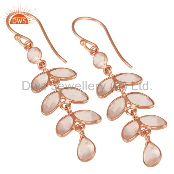 Exporter 18K Rose Gold Plated Sterling Silver Rose Quartz Gemstone Dangle Earrings