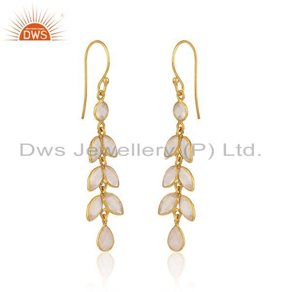 Leaf dangle earring in yellow gold on silver 925 with rose quartz